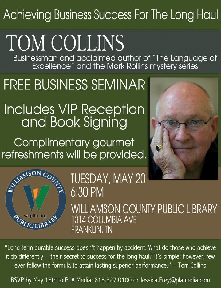 Mystery Writer Speaks on Leadership; May 20, 2014 at 6:00pm Williamson County Libary